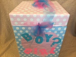 Decorated Box Filled with Pink or Blue Helium Balloons